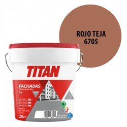Pintura Plástica Titán Fachadas F4 Rojo Teja 6705 Mate