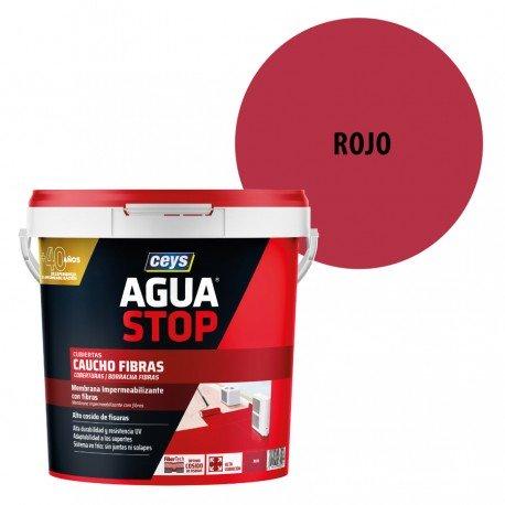 Impermeabilizante AguaStop Ceys Caucho Fibras color Rojo 1, 5 y 20 Kg