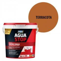 Impermeabilizante Agua Stop Ceys Caucho Fibras color Terracota
