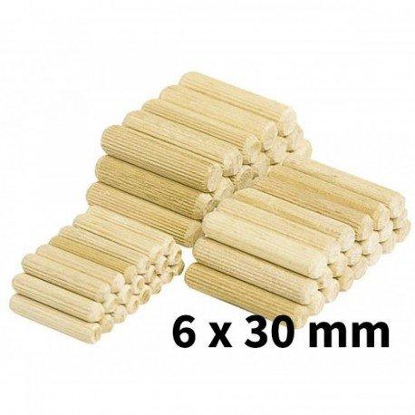 Espiga corrugada de madera wolfcraft 6x30mm pack 50ud