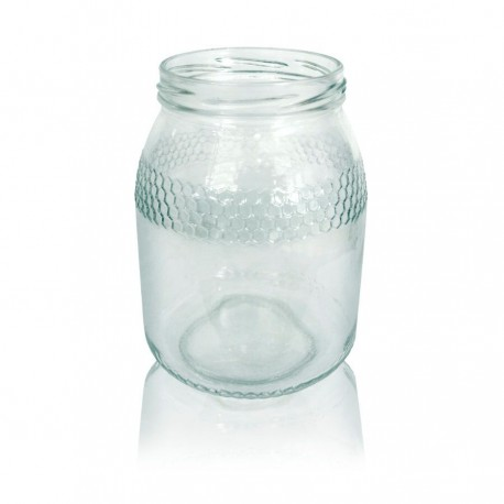 Bote o tarro de cristal para Miel 1 Kilo Bajo